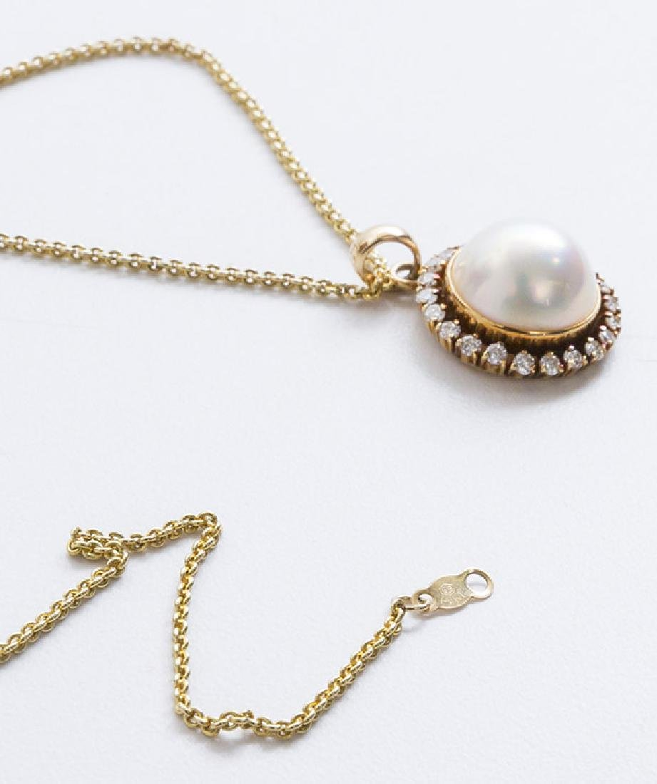 14K Mabe' Pearl Necklace - 7