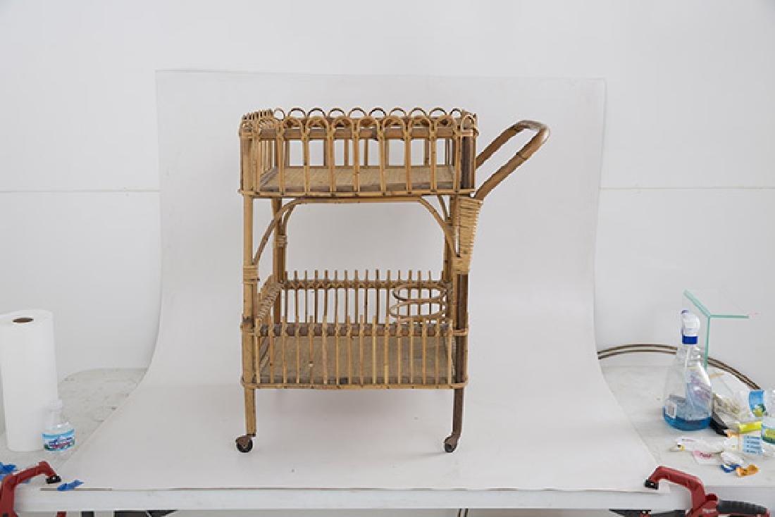 Italian Wicker Tea Cart - 6
