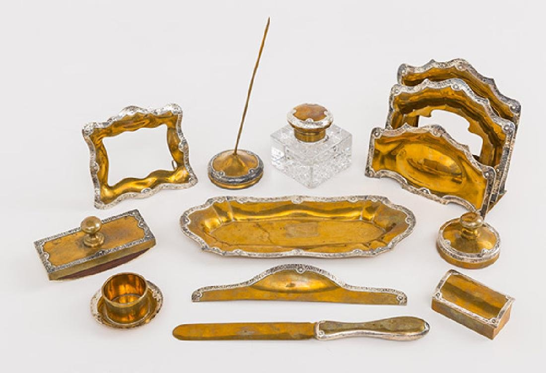 Eleven Arts and Crafts Copper and Sterling Desk Set