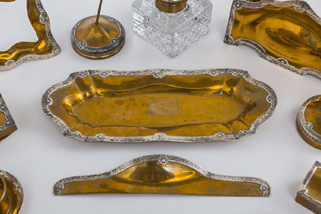 Eleven Arts and Crafts Copper and Sterling Desk Set - 2