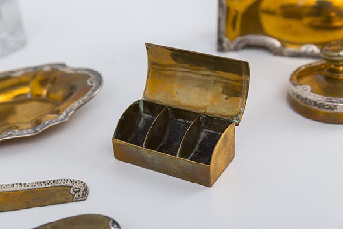 Eleven Arts and Crafts Copper and Sterling Desk Set - 5