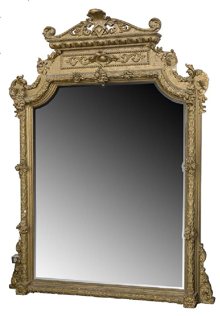 Large Heavily Carved Gesso Frame Mirror