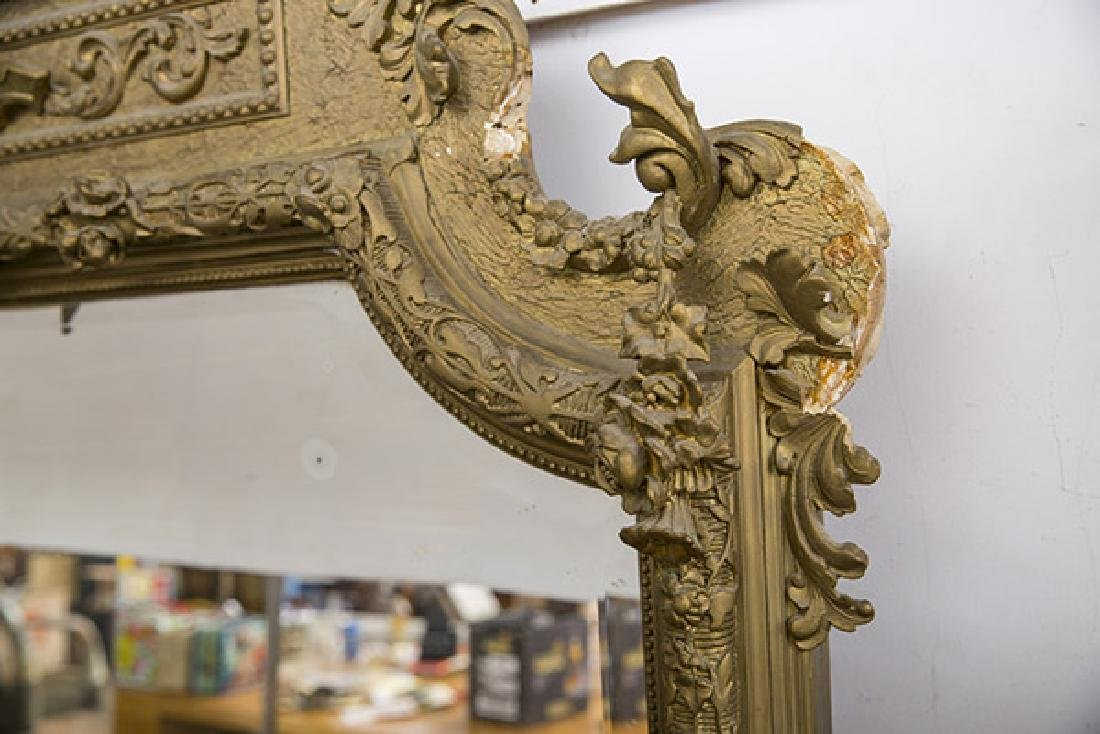 Large Heavily Carved Gesso Frame Mirror - 4