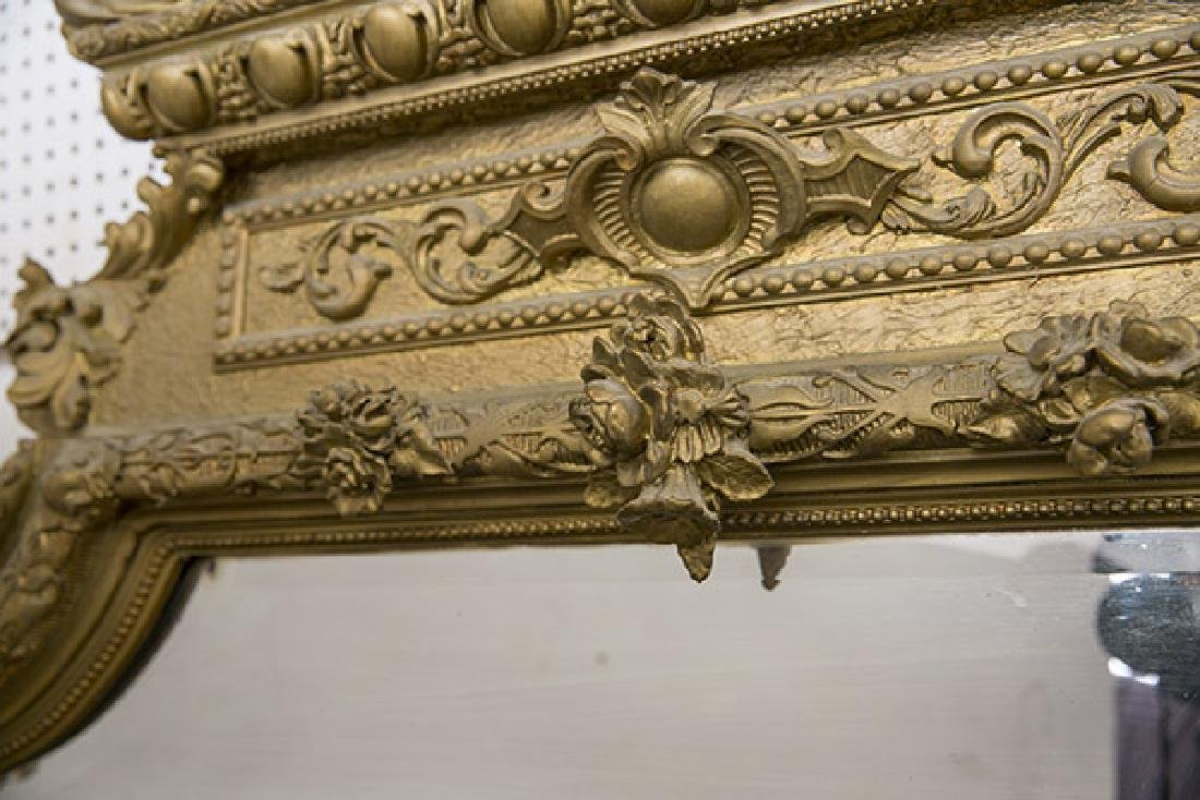 Large Heavily Carved Gesso Frame Mirror - 5
