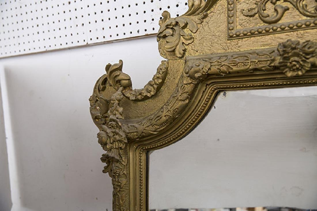 Large Heavily Carved Gesso Frame Mirror - 6