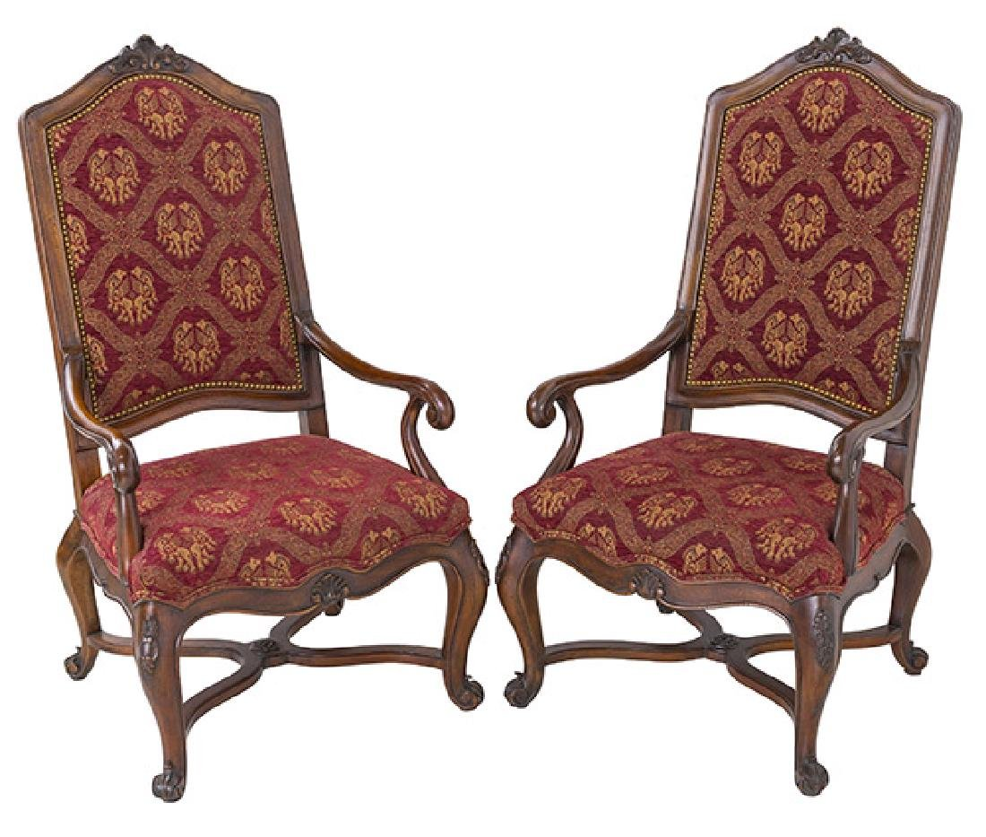 Country French High-Back Throne Chairs