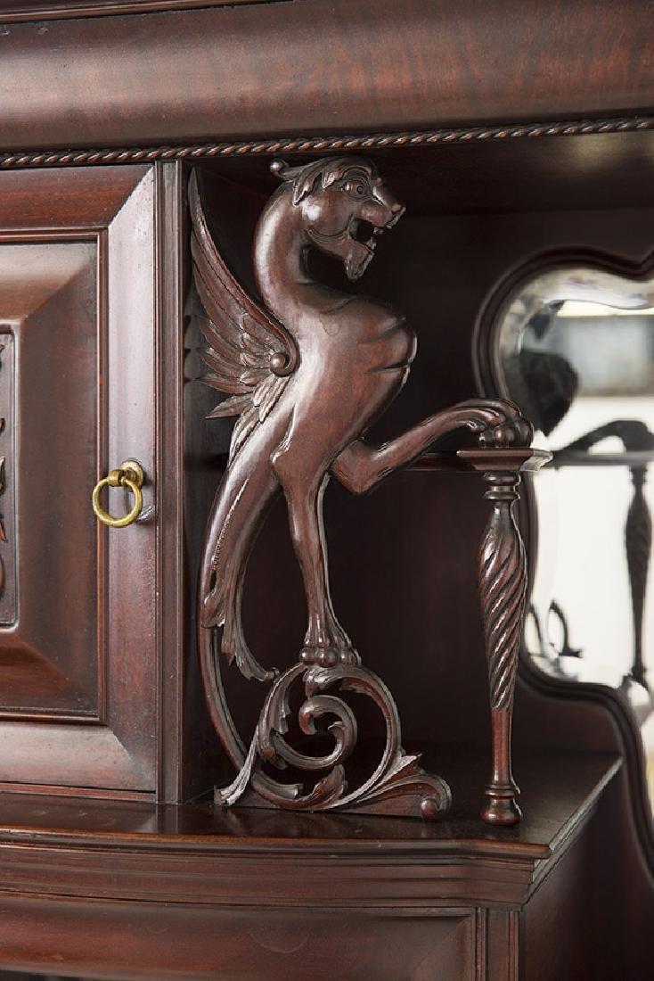 Unusual Winged Griffin Mahogany Side by Side Secretary - 5