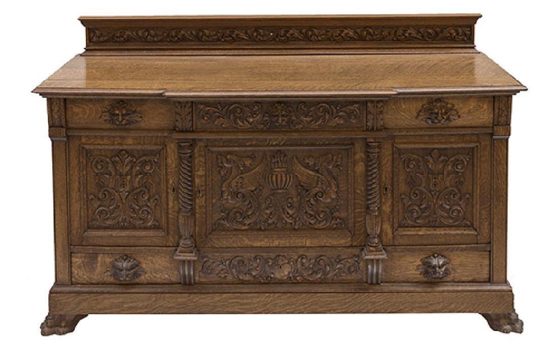 RJ Horner Carved Oak Sideboard