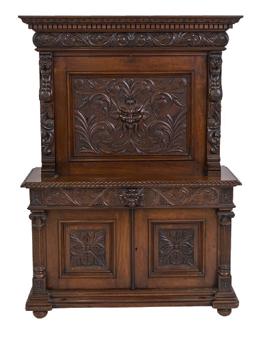 Heavily Carved Oak Cabinet