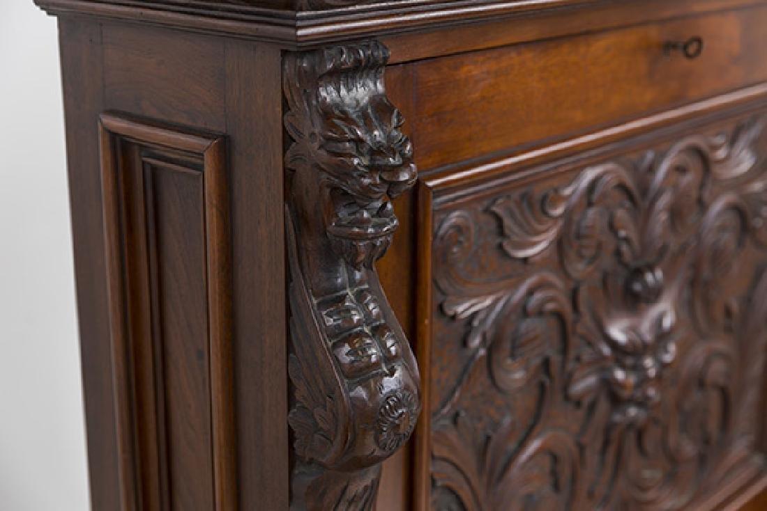 Heavily Carved Oak Cabinet - 3