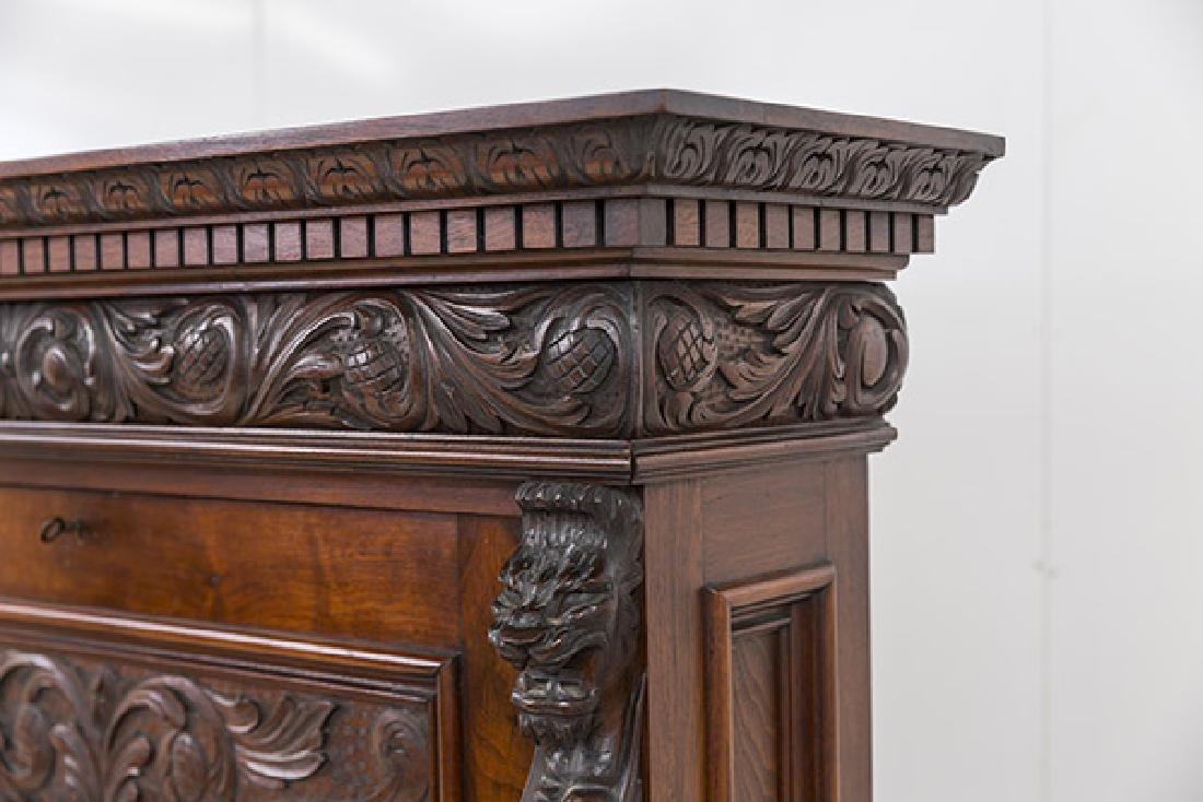 Heavily Carved Oak Cabinet - 5