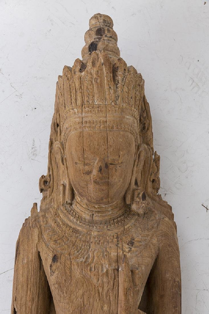 Carved 17th Century Wooden Buddha - 2