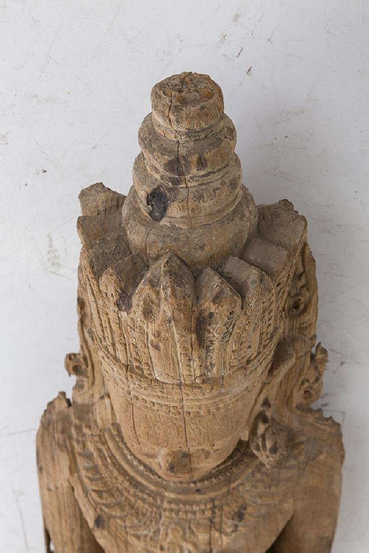 Carved 17th Century Wooden Buddha - 5