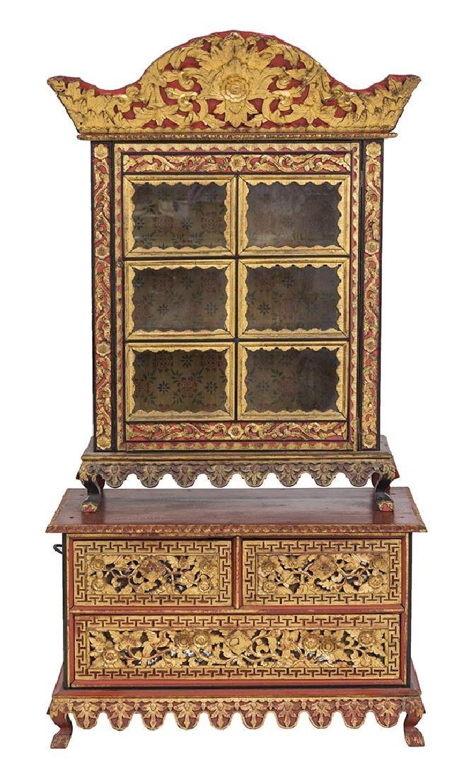 Lemari Palembang Carved Wood Cabinet