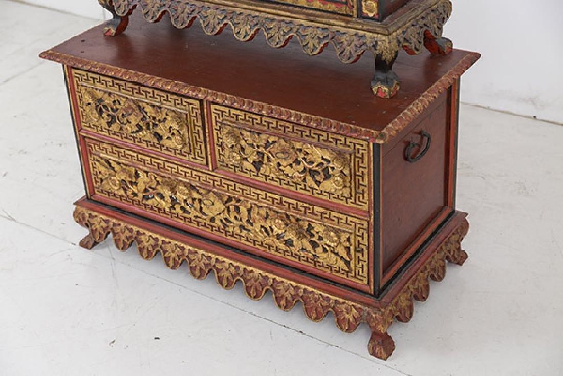 Lemari Palembang Carved Wood Cabinet - 2