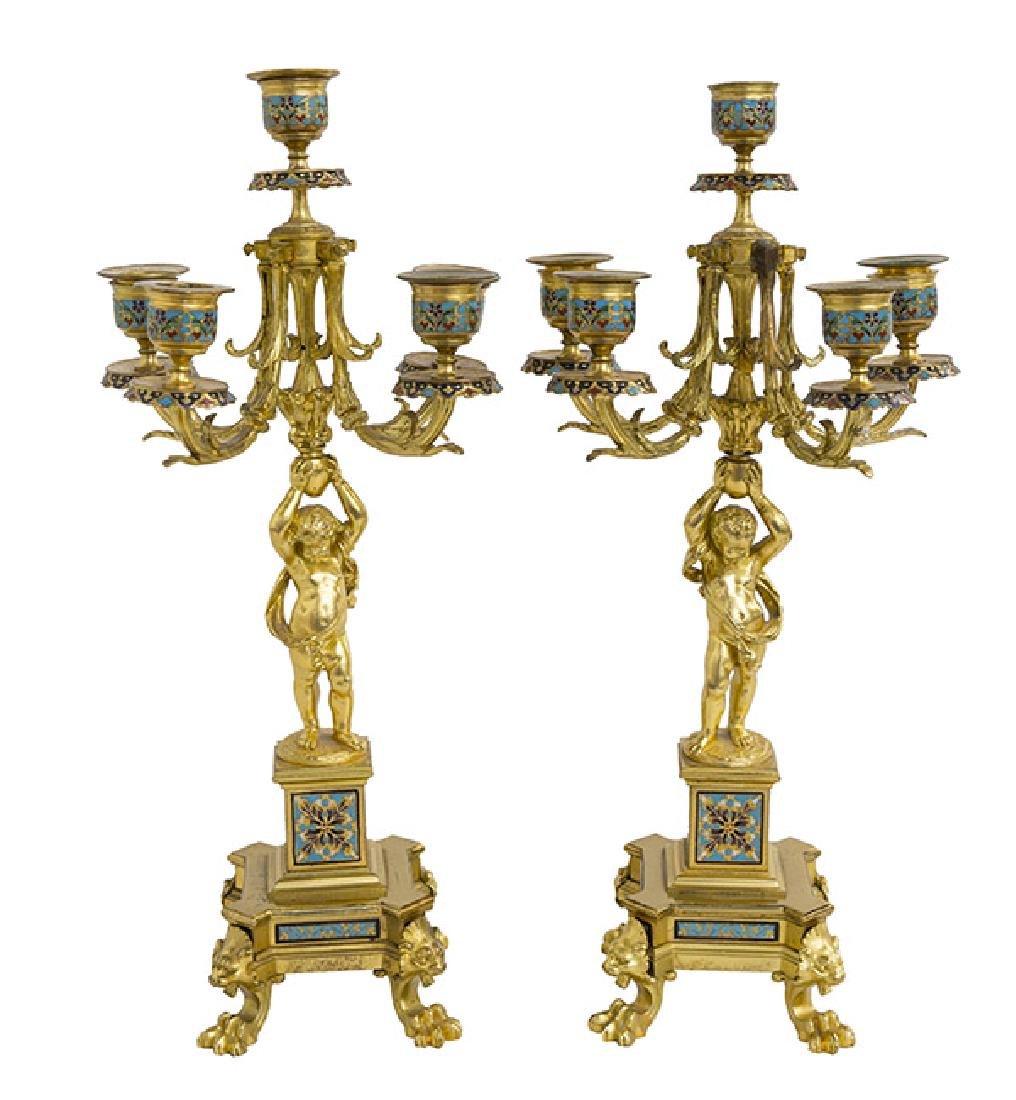 Gilded Bronze and Enamel Candelabras