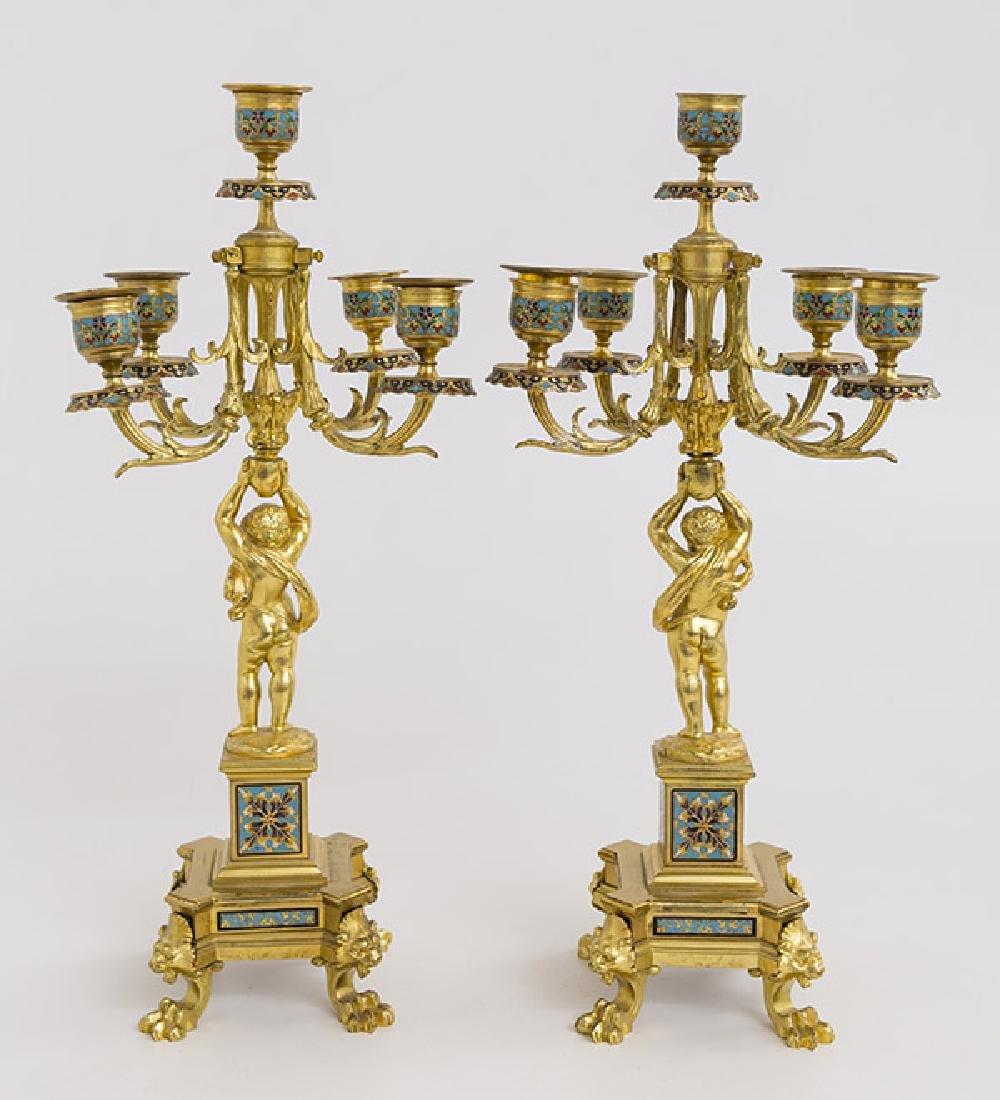 Gilded Bronze and Enamel Candelabras - 6