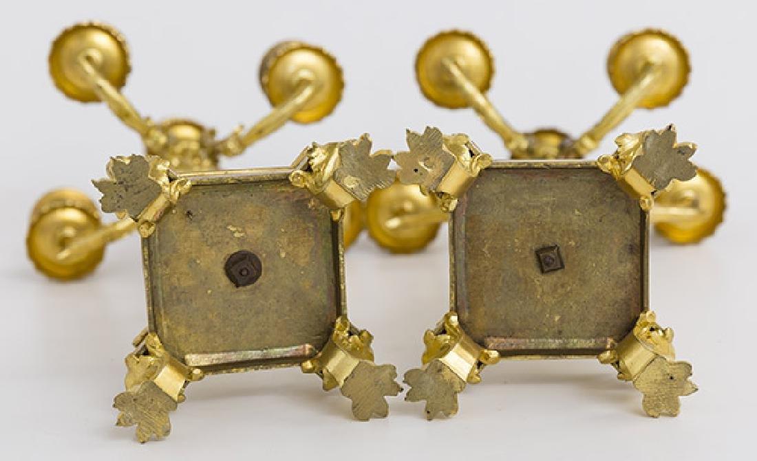 Gilded Bronze and Enamel Candelabras - 8