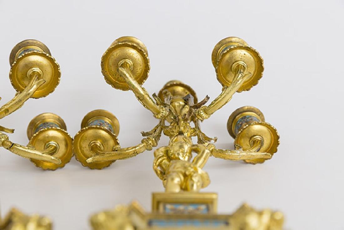Gilded Bronze and Enamel Candelabras - 9