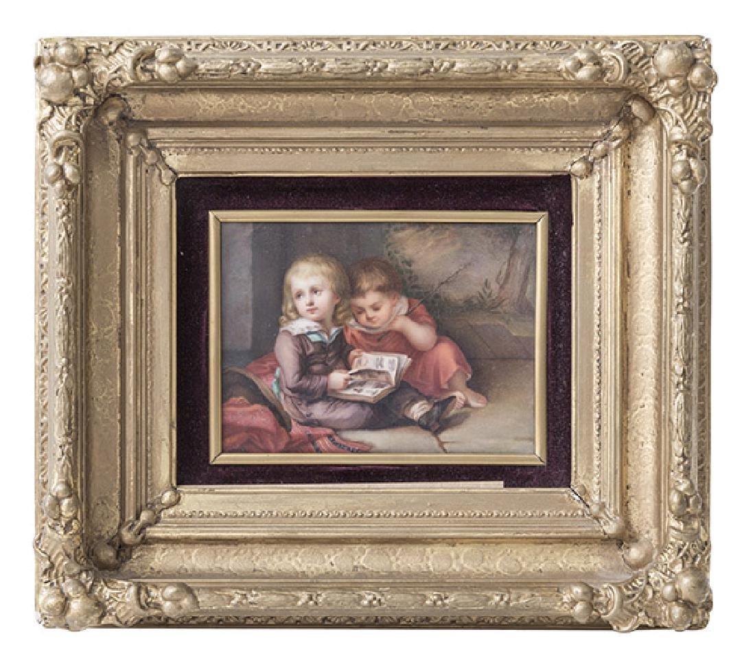 KPM Porcelain Plaque Depicting Children
