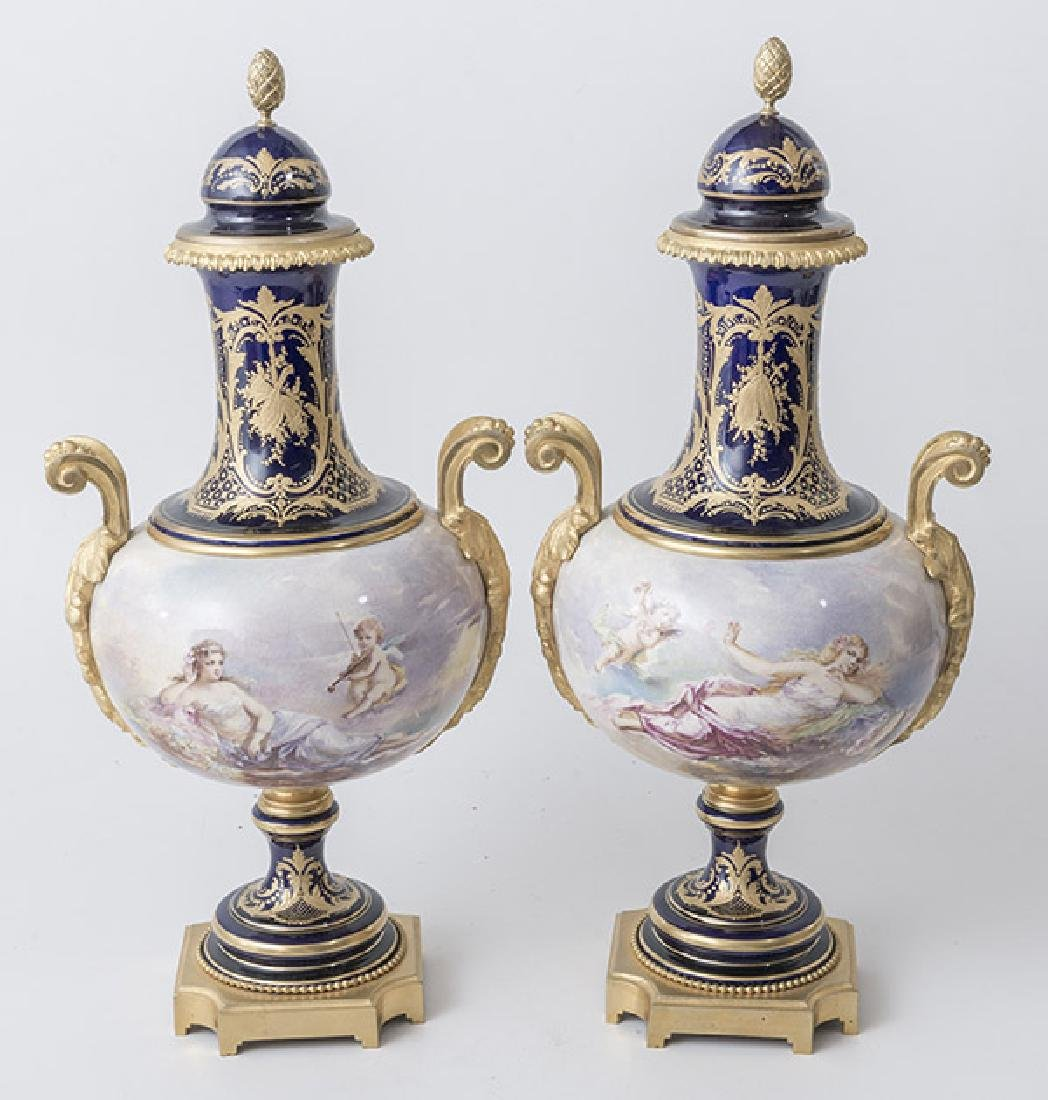 Pair Of French Handles Urns - 4