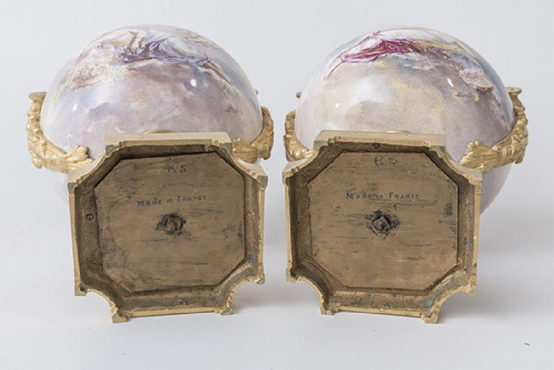 Pair Of French Handles Urns - 9