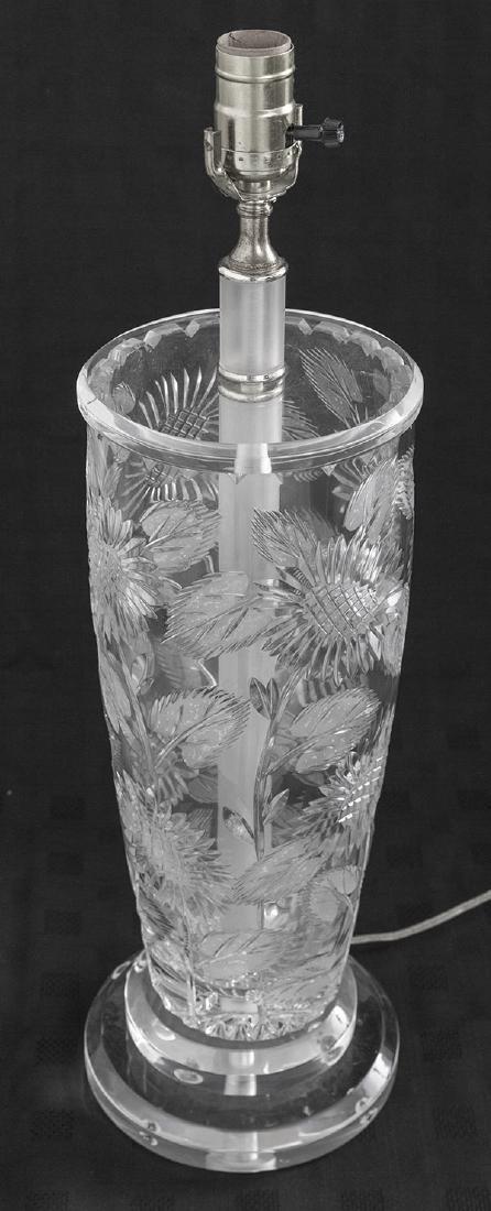 Modern Floral Cut Glass Lamp