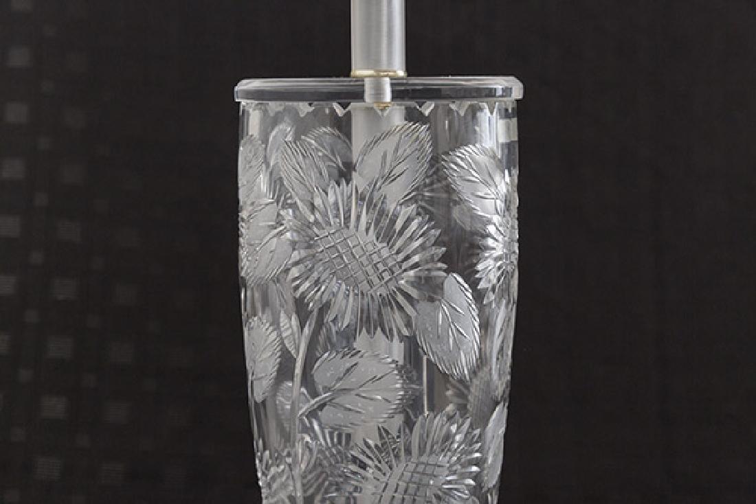 Modern Floral Cut Glass Lamp - 2
