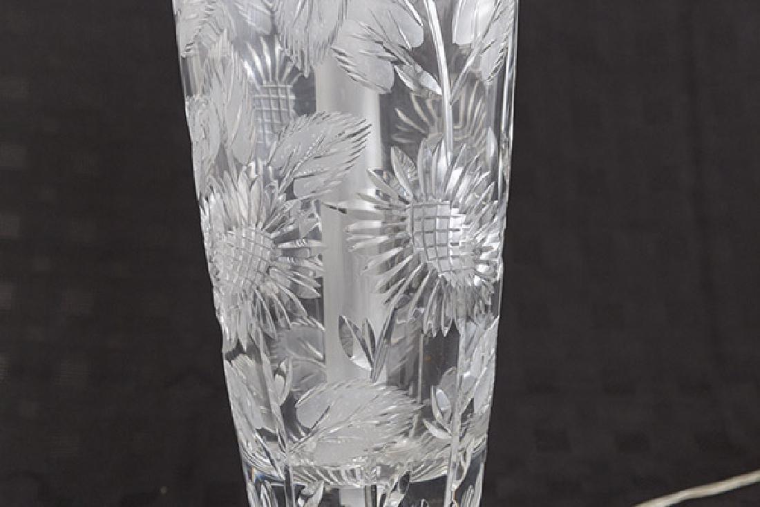 Modern Floral Cut Glass Lamp - 3