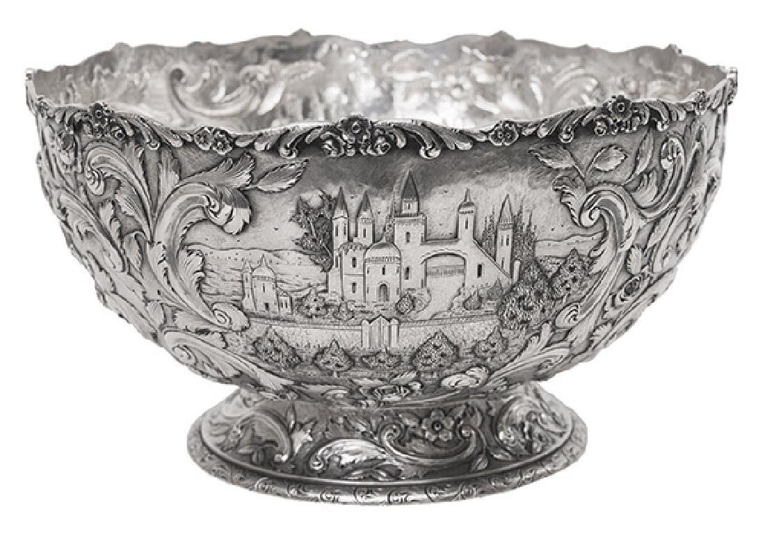 "Loring Andrews ""Castle"" Pattern Sterling Punch Bowl"