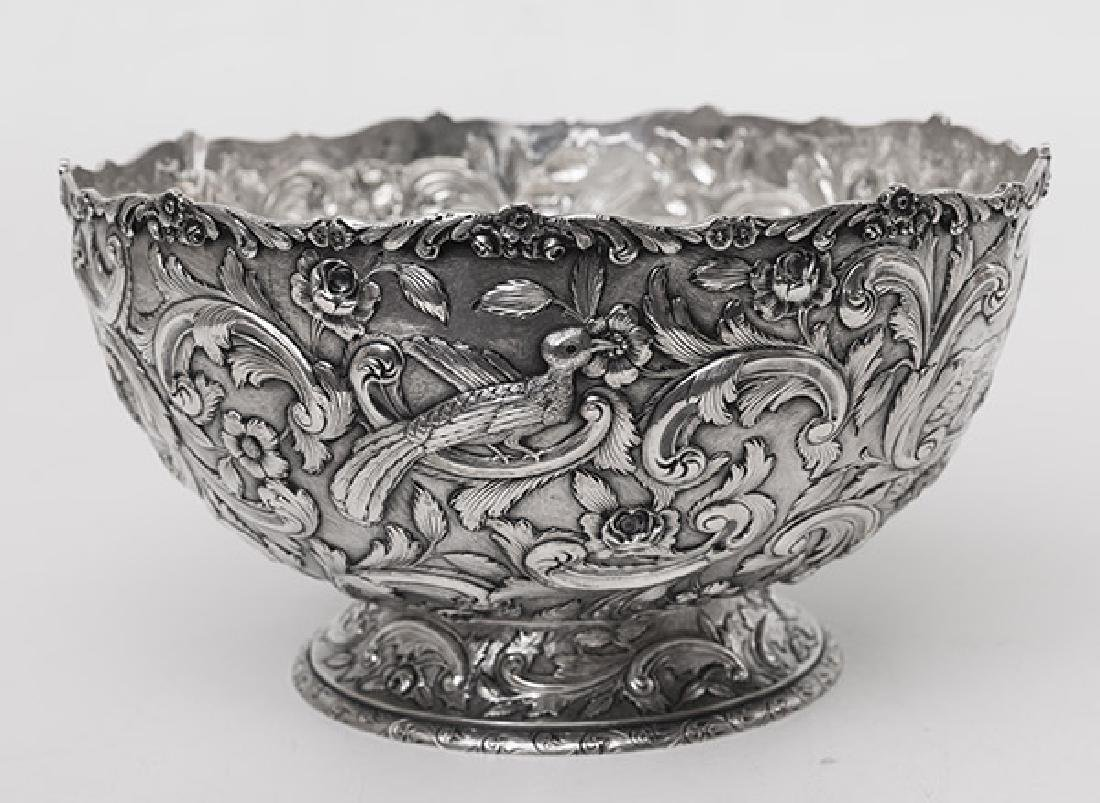 "Loring Andrews ""Castle"" Pattern Sterling Punch Bowl - 3"