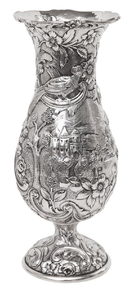 "Loring Andrews ""Castle Pattern"" Sterling Vase"