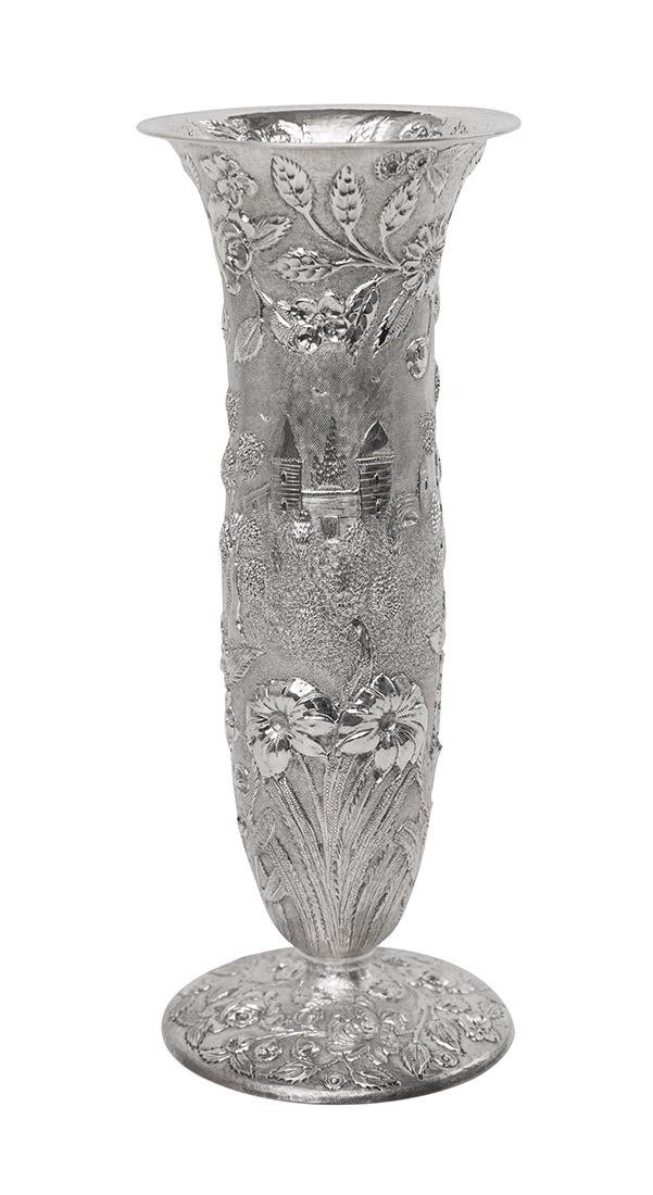"Loring Andrews Sterling Silver ""Castle Pattern"" Vase"