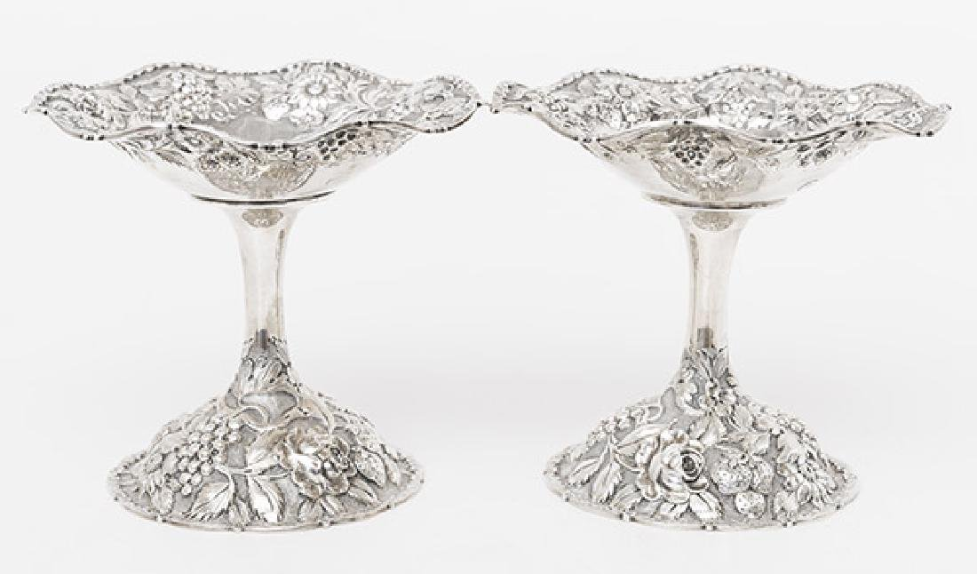 Pair of Loring Andrews Sterling Repousse Compotes - 2