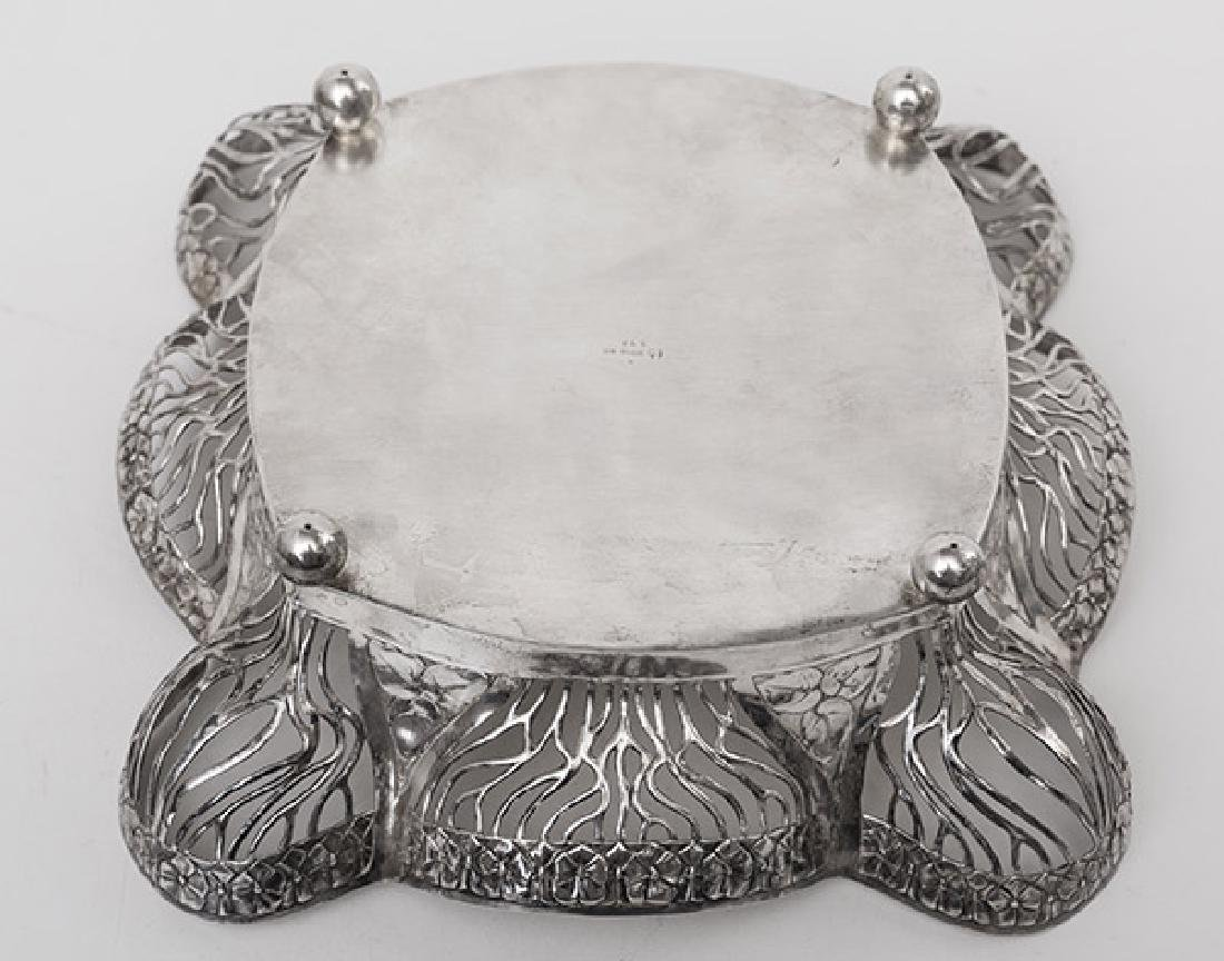 French Silver Reticulated Footed Tray - 2