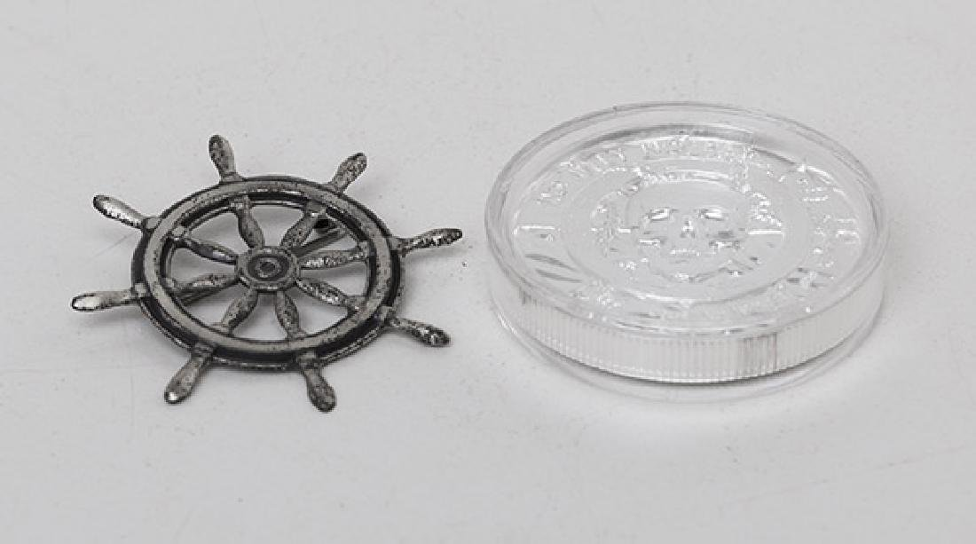 .999 Fine Pirate Coin & Sterling Ship Wheel
