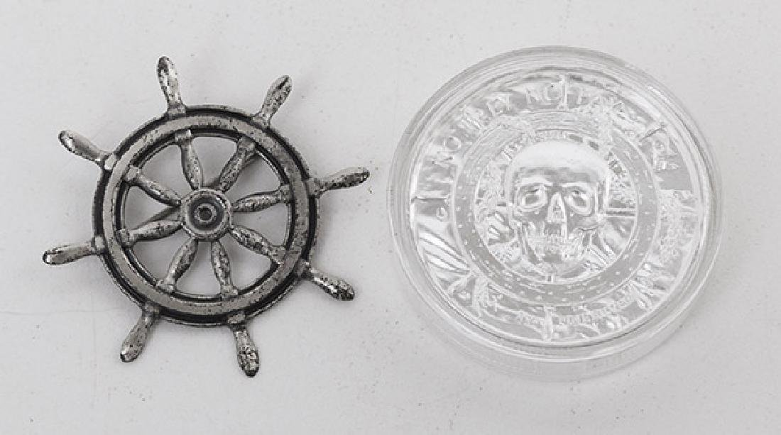 .999 Fine Pirate Coin & Sterling Ship Wheel - 2