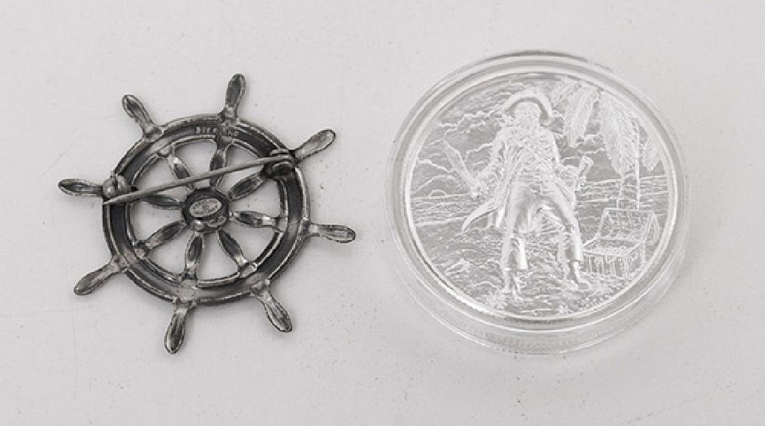 .999 Fine Pirate Coin & Sterling Ship Wheel - 3