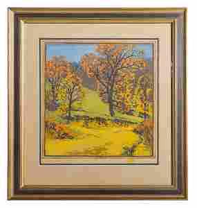 Gustave Baumann Color Woodblock Print