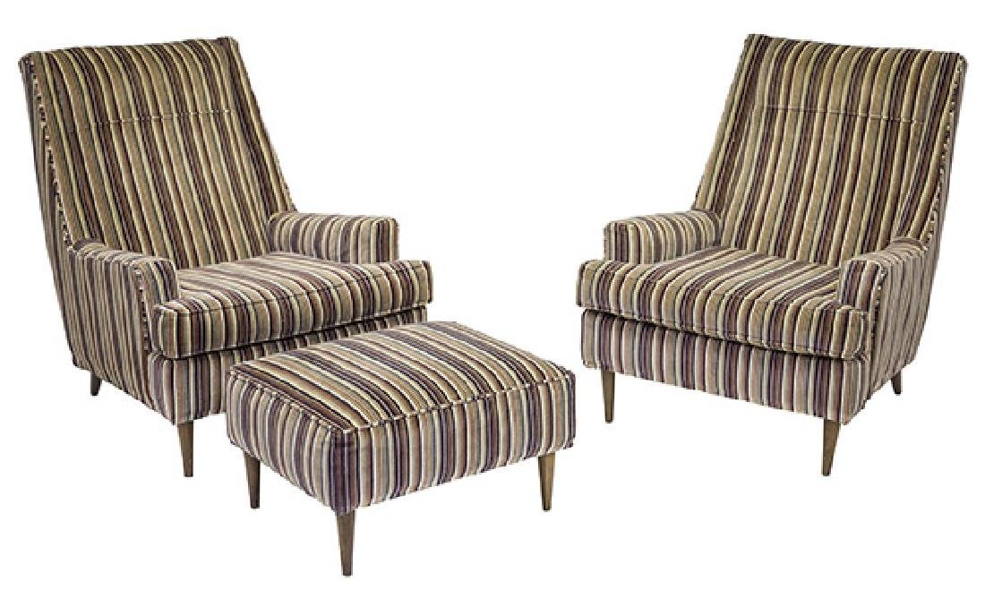 Paul McCobb Style Lounge Chairs & Ottoman