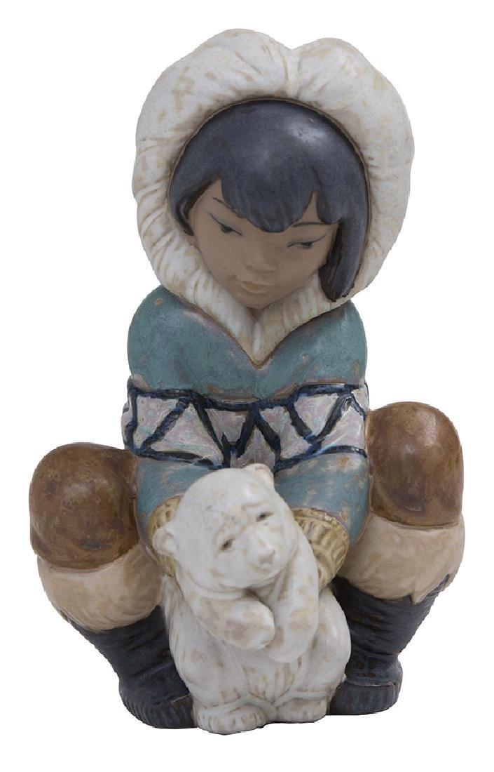 "Lladro Gres ""Poor Little Polar Bear Eskimo"" #2232"