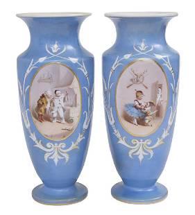 Pair of Hand Painted Bristol Glass Vase