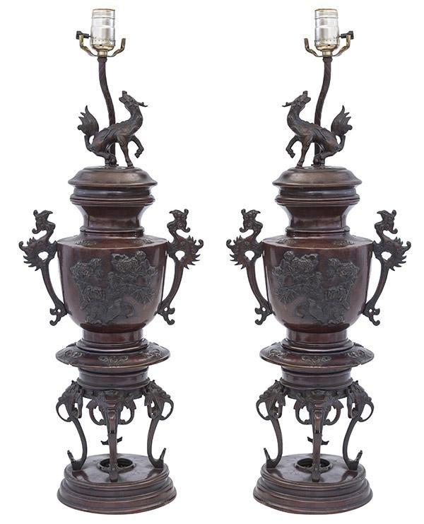 Meiji Period Bronze Table Lamps