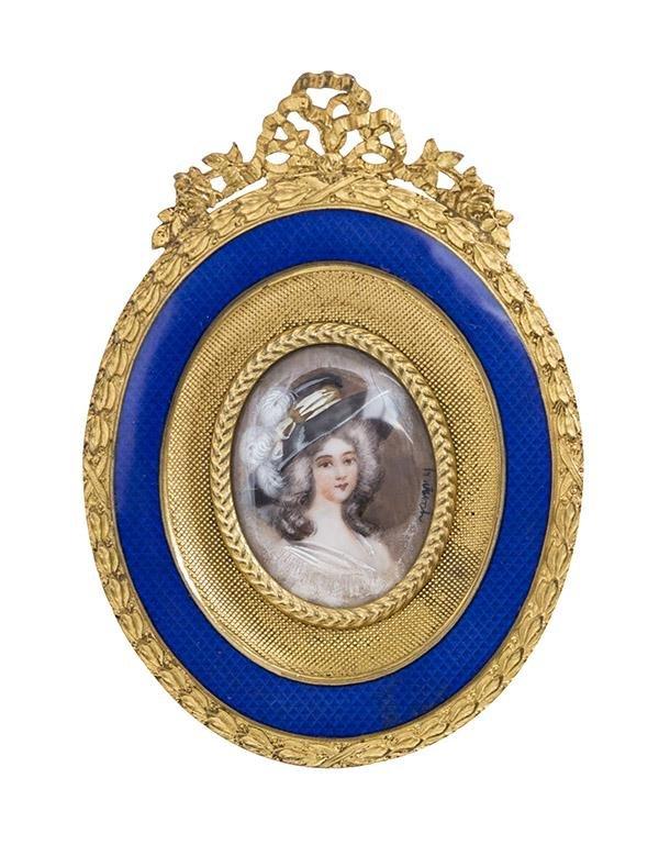 19th Century French Miniature Porcelain Portrait