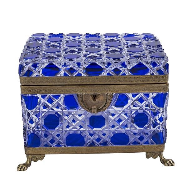 Rare Blue Baccarat Ormolu Faceted Casket Jewelry Box