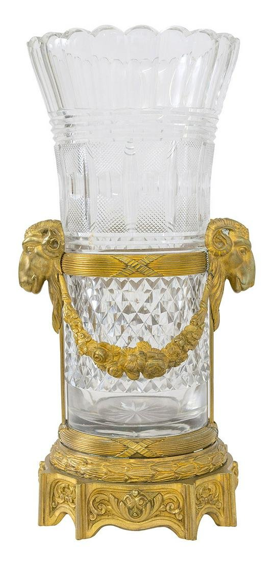 Monumental French Cut Crystal  Bronze Mounted Vase