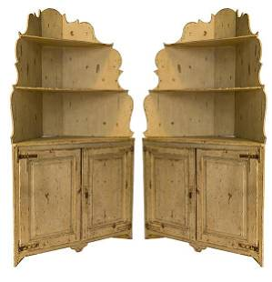 20th Century Country French Corner Cupboards