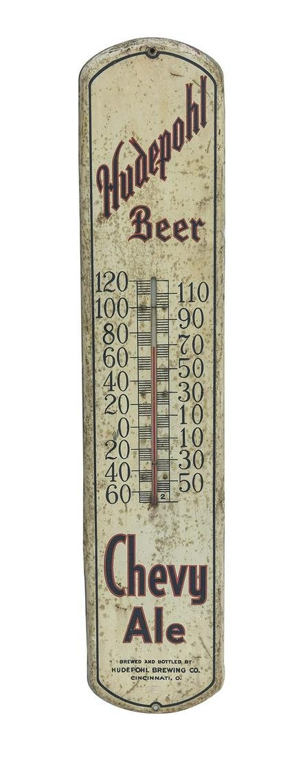 Rare Hudepohl Beer Chevy Ale Thermometer