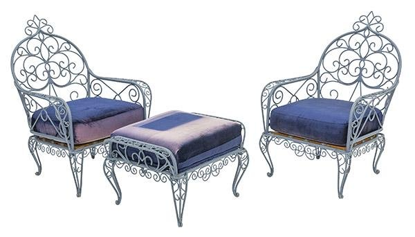 French Iron Chairs & Ottoman