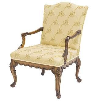 English Serpentine Back Mahogany Arm Chair